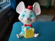 Vtg Alan Jay Clarolyte Large White/turquoise Blue Rubber Mouse Squeeze Toy 7
