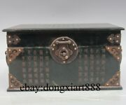 9 Chinese Natural Jade Jasper Copper Wood Handwork Chisel Carved Jewelry Boxs