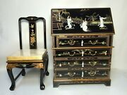 Oriental Desk Furniture Chinese Black Lacquer With Mother Of Pearl With Chair