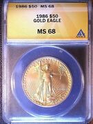 1986 50 Gold Eagle Anacs Ms 68 Superb Gem, First Year Mint State, Roman Numbers