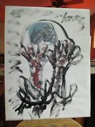 Purvis Young Naive Street Art Painting W/ Hands On Head