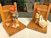 Goebel Mi Hummel Goose Girl And Farm Boy Bookends-wood Matched Bookends-tmk2