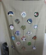 Completed Afghan Holiday Christmas Winter Cross Stitch Throw Wall Hanging