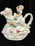 Vtg Lenox Elf And Rocking Horse Holiday Teapot, 9 Tall, 1982 Excellent