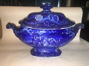 Historical Staffordshire Dark Blue Soup Tureen Don Quixote And The Princess 1825