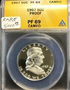 1957 Franklin Half Dollar Anacs Pf 69 Cameo Frosted Proof Rare