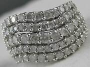 Modern Wide 2ctw Pave Diamond 14kt W Gold Multi Band Wave Cocktail Ring Rg544