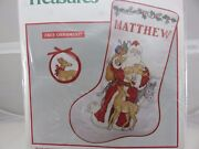 Needle Treasures Father Christmas Stocking Cross Stitch Kit Fabric And Thread New