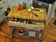 Kitchen Carts On Wheels With Solid Wood Top Island Butcher Steel 34 Workstation