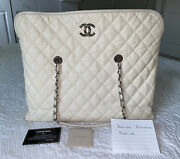 Ivory Creme Soft Caviar French Riviera Tote Hobo Shopping Gst Very Good