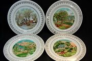 4pc Currier And Ives Four Seasons 8 1/4 Collectors Plates