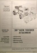 Sears 36 Snow Thrower Implement Garden Tractor Owner And Parts Manual 842.26009
