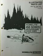 Homelite 450 Series Professional Chain Saw Parts Manual Chainsaw Pro Saws