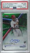 2018 Bowmanand039s Best Of Green Refractor /99 Scott Kingery Psa 9 Rookie Auto