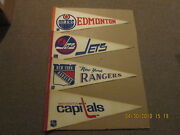 Nhl Lot Of 4 Vintage Circa 1970's Capitals Rangers Jets And Oilers Hockey Pennants