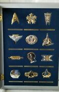 Star Trek Sterling Insignia Badges Display Case Franklin Mint Booklets And Boxes