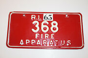 1965 Rhode Island Fire Apparatus Id 368 License Plate - Extremely Rare