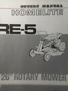 Homelite Re-5 Rer Riding 26 Lawn Mower Tractor Owner And Parts 2 Manual S