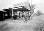5x7 Photo Red Hat Gas Station Oil Racks Lubsters Gargoyle Attendant Pumps