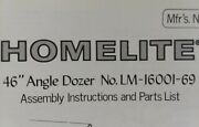 Homelite T-10 T-16 Lawn Tractor 46 42 Front Blade Implement Owner And Parts Manual