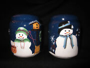 Crazy Mountain Christmas Snowman Salt And Pepper Shakers