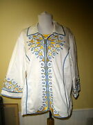 2 Pc Bob Mackie Wearable Art Xl White Blue Yellow Jacket Cut Out Embroidery