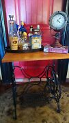 Antique Black Treadle Sewing Machine Cast Iron Base Stand End Table Steampunk