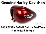 Oem Genuine Harley Davidson Softail Deluxe Candy Red Sunglo Fuel Gas Perto Tank