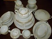 52 Piece Noritake M And Wreath Hand Painted N1128 Disc. 1912 China