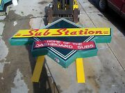 2 Large Restaurant Neon Substation Signs Sub Sandwiches Pizzas Home Cooked Meal