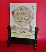 People/devil On Balloon Weighted By Vanity Chinese Export Porcelain Table Screen