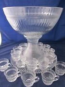 Heisey Glass Banded Flute Clear Punch Bowl Underplate + 20 Cups Depression Era