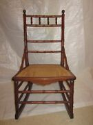 Faux Bamboo Rocking Chair Sewing Rocker Early 1900s R J Horner Style Rare