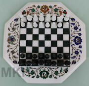 Christmas Offer Marble Chess Board Inlay Game Table Top Pietra Dura Vintage Art