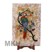Parrot Marble Tray Serving Food Table Plate Inlay Stone Cheese Platter Vintage