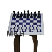 Italian Marble Top Chess Game Set Inlay Stone Pieces Coffee Table Side Tables