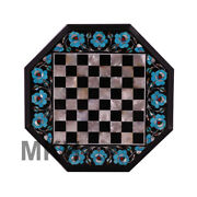 Marble Inlay Chess Board Set Pieces Coffee Table Pietra Dura Art Mosaic Vintage