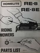 Homelite Re-8e Re-8 Rer Riding Lawn Mower Tractor Part Catalog Manual Simplicity