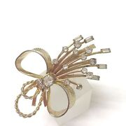 Vintage 1960and039s Signed Sarah Coventry Vogue Ribbon Bow Spray Brooch Pin