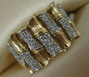 Estate Pave Diamond 14k White Yellow Gold Wide Bamboo Cocktail Ring 13m R31759a0