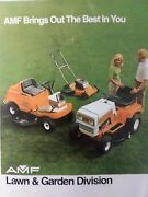 Amf Riding Tractor Walk-behind Tiller And Lawn Mower Sales Color Brochure Manual