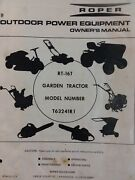Roper Rt-16t Lawn Suburban T63241r1 Garden Tractor Owner And Parts Manual 16 Hp