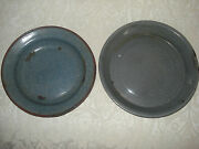 2 Vintage Gray Enamelware Pie Pans/ Plates/ Baking Dishes/ One Red Rimmed