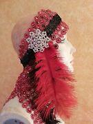 Gatsby 20and039s Flapper Red Feather Illusion Jewel Mesh Crystal Bridal Headpiece