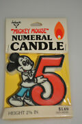 Vintage Nos Disney Mickey Mouse 5th Birthday Candle Numeral 5 Ambassador Sealed