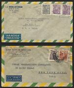 Brazil - 1946 11 Stamped Vintage Air Mail Envelopes Mailed From Brazil To Nyc.