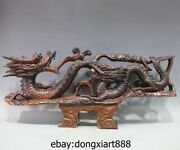 32 Chinese Redwood Handwork Carving Zodiac Fengshui Animal Two Dragon Sculpture