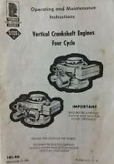 Tecumseh Vertical Engine Owners Manual V40 V30 Lawn Mower Riding Tractor Sears