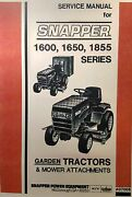 Snapper 1600 1650 1855 Lawn Garden Tractor And Mower Service Manual Engine Pto