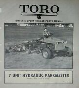Toro 7-unit Parkmaster Reel Lawn Mower Riding Tractor Imp Owner And Parts Manual